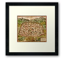 Damascus Vintage map.Geography Syria ,city view,building,political,Lithography,historical fashion,geo design,Cartography,Country,Science,history,urban Framed Print