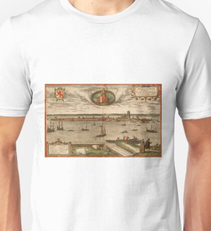 Dordrecht Vintage map.Geography Netherlands ,city view,building,political,Lithography,historical fashion,geo design,Cartography,Country,Science,history,urban Unisex T-Shirt