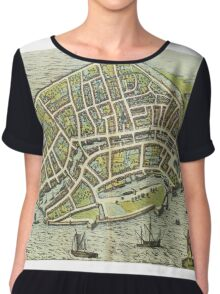 Dordrecht(2) Vintage map.Geography Netherlands ,city view,building,political,Lithography,historical fashion,geo design,Cartography,Country,Science,history,urban Chiffon Top