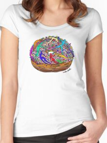Human Donut Sprinkles Pattern Women's Fitted Scoop T-Shirt