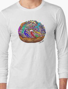 Human Donut Sprinkles Pattern Long Sleeve T-Shirt
