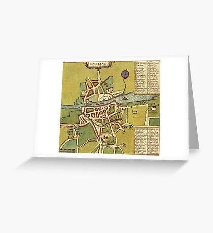 Dublin Vintage map.Geography Irland ,city view,building,political,Lithography,historical fashion,geo design,Cartography,Country,Science,history,urban Greeting Card