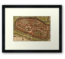 Duiisburg Vintage map.Geography Germany ,city view,building,political,Lithography,historical fashion,geo design,Cartography,Country,Science,history,urban Framed Print