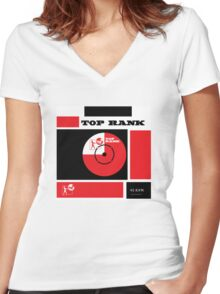 Top Rank Vintage Record Sleeve Women's Fitted V-Neck T-Shirt