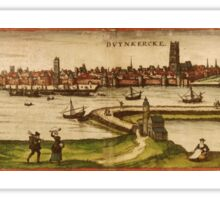 Dunkerque Vintage map.Geography France ,city view,building,political,Lithography,historical fashion,geo design,Cartography,Country,Science,history,urban Sticker