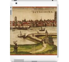 Dunkerque Vintage map.Geography France ,city view,building,political,Lithography,historical fashion,geo design,Cartography,Country,Science,history,urban iPad Case/Skin