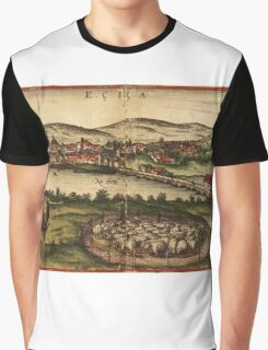 Ecija Vintage map.Geography Spain ,city view,building,political,Lithography,historical fashion,geo design,Cartography,Country,Science,history,urban Graphic T-Shirt