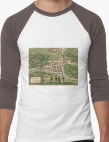 Edinburgh Vintage map.Geography Great Britain ,city view,building,political,Lithography,historical fashion,geo design,Cartography,Country,Science,history,urban Men's Baseball ¾ T-Shirt