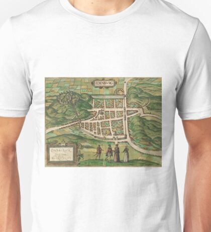 Edinburgh Vintage map.Geography Great Britain ,city view,building,political,Lithography,historical fashion,geo design,Cartography,Country,Science,history,urban Unisex T-Shirt