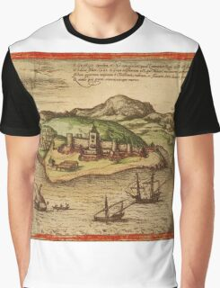 Elmina Vintage map.Geography Africa ,city view,building,political,Lithography,historical fashion,geo design,Cartography,Country,Science,history,urban Graphic T-Shirt