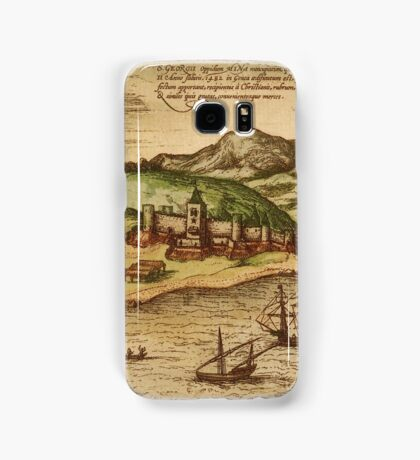 Elmina Vintage map.Geography Africa ,city view,building,political,Lithography,historical fashion,geo design,Cartography,Country,Science,history,urban Samsung Galaxy Case/Skin
