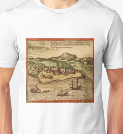 Elmina Vintage map.Geography Africa ,city view,building,political,Lithography,historical fashion,geo design,Cartography,Country,Science,history,urban Unisex T-Shirt