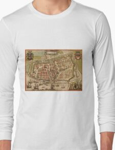 Emden Vintage map.Geography Germany ,city view,building,political,Lithography,historical fashion,geo design,Cartography,Country,Science,history,urban Long Sleeve T-Shirt