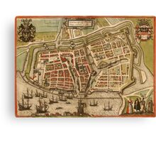 Emden Vintage map.Geography Germany ,city view,building,political,Lithography,historical fashion,geo design,Cartography,Country,Science,history,urban Canvas Print