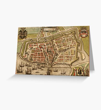 Emden Vintage map.Geography Germany ,city view,building,political,Lithography,historical fashion,geo design,Cartography,Country,Science,history,urban Greeting Card