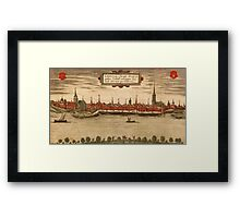 Emmerich Vintage map.Geography Germany ,city view,building,political,Lithography,historical fashion,geo design,Cartography,Country,Science,history,urban Framed Print
