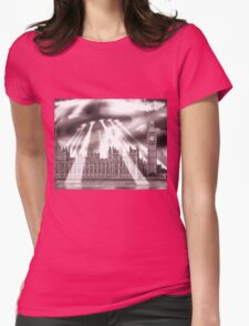 UFO Over London (Sepia) Womens Fitted T-Shirt