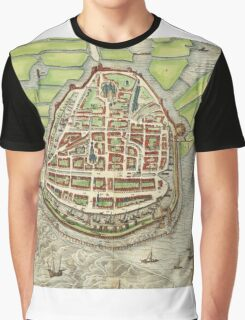 Enkhusen Vintage map.Geography Netherlands ,city view,building,political,Lithography,historical fashion,geo design,Cartography,Country,Science,history,urban Graphic T-Shirt