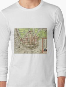 Enkhusen Vintage map.Geography Netherlands ,city view,building,political,Lithography,historical fashion,geo design,Cartography,Country,Science,history,urban Long Sleeve T-Shirt