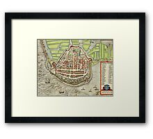 Enkhusen Vintage map.Geography Netherlands ,city view,building,political,Lithography,historical fashion,geo design,Cartography,Country,Science,history,urban Framed Print