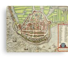 Enkhusen Vintage map.Geography Netherlands ,city view,building,political,Lithography,historical fashion,geo design,Cartography,Country,Science,history,urban Metal Print