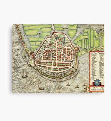 Enkhusen Vintage map.Geography Netherlands ,city view,building,political,Lithography,historical fashion,geo design,Cartography,Country,Science,history,urban Canvas Print