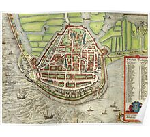 Enkhusen Vintage map.Geography Netherlands ,city view,building,political,Lithography,historical fashion,geo design,Cartography,Country,Science,history,urban Poster