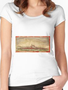 Erfurt Vintage map.Geography Germany ,city view,building,political,Lithography,historical fashion,geo design,Cartography,Country,Science,history,urban Women's Fitted Scoop T-Shirt