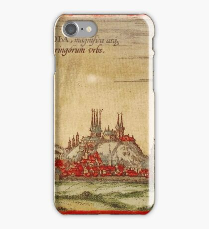 Erfurt Vintage map.Geography Germany ,city view,building,political,Lithography,historical fashion,geo design,Cartography,Country,Science,history,urban iPhone Case/Skin
