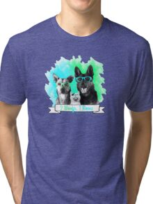 2 Woofs, 1 Meow 2.0 – watercolor Tri-blend T-Shirt