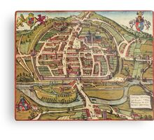 Exeter Vintage map.Geography Great Britain ,city view,building,political,Lithography,historical fashion,geo design,Cartography,Country,Science,history,urban Metal Print