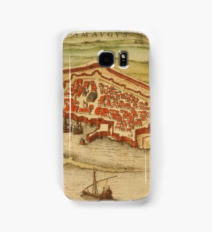 Famagusta Vintage map.Geography Northern Cyprus ,city view,building,political,Lithography,historical fashion,geo design,Cartography,Country,Science,history,urban Samsung Galaxy Case/Skin