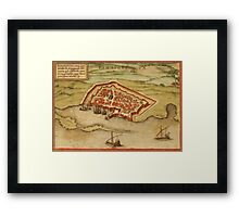 Famagusta Vintage map.Geography Northern Cyprus ,city view,building,political,Lithography,historical fashion,geo design,Cartography,Country,Science,history,urban Framed Print