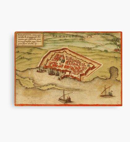 Famagusta Vintage map.Geography Northern Cyprus ,city view,building,political,Lithography,historical fashion,geo design,Cartography,Country,Science,history,urban Canvas Print