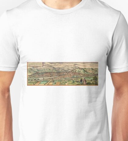 Florence Vintage map.Geography Italy ,city view,building,political,Lithography,historical fashion,geo design,Cartography,Country,Science,history,urban Unisex T-Shirt