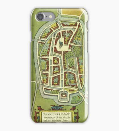 Franeker Vintage map.Geography Netherlands ,city view,building,political,Lithography,historical fashion,geo design,Cartography,Country,Science,history,urban iPhone Case/Skin