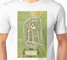 Franeker Vintage map.Geography Netherlands ,city view,building,political,Lithography,historical fashion,geo design,Cartography,Country,Science,history,urban Unisex T-Shirt