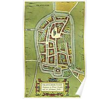 Franeker Vintage map.Geography Netherlands ,city view,building,political,Lithography,historical fashion,geo design,Cartography,Country,Science,history,urban Poster
