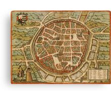 Freiberg Vintage map.Geography Germany ,city view,building,political,Lithography,historical fashion,geo design,Cartography,Country,Science,history,urban Canvas Print