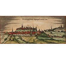 Freising Vintage map.Geography Germany ,city view,building,political,Lithography,historical fashion,geo design,Cartography,Country,Science,history,urban Photographic Print