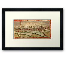 Fulda Vintage map.Geography Germany ,city view,building,political,Lithography,historical fashion,geo design,Cartography,Country,Science,history,urban Framed Print