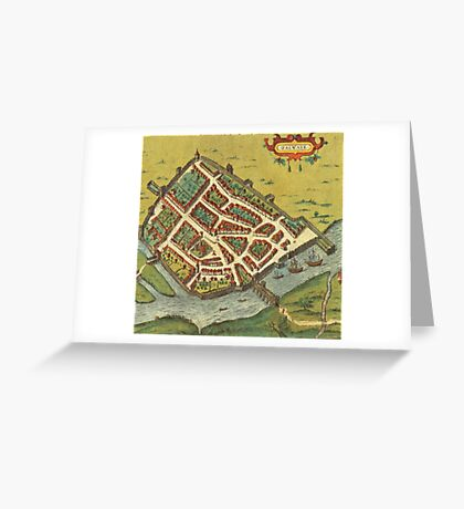 Galway Vintage map.Geography Irland ,city view,building,political,Lithography,historical fashion,geo design,Cartography,Country,Science,history,urban Greeting Card