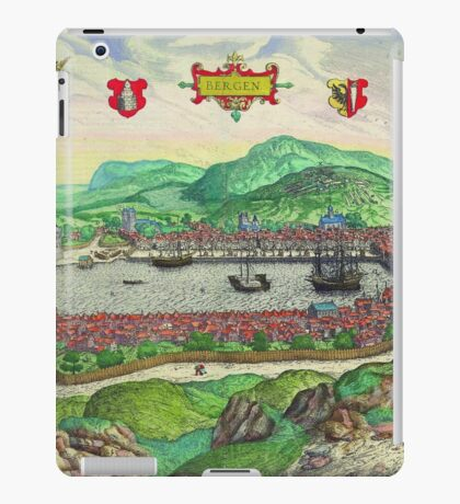Bergen Vintage map.Geography Norway ,city view,building,political,Lithography,historical fashion,geo design,Cartography,Country,Science,history,urban iPad Case/Skin