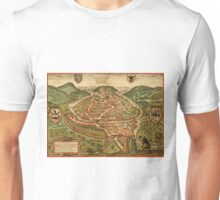 Besancon Vintage map.Geography France ,city view,building,political,Lithography,historical fashion,geo design,Cartography,Country,Science,history,urban Unisex T-Shirt