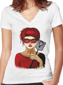 Smash the Patriarchy Women's Fitted V-Neck T-Shirt