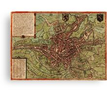 Gent Vintage map.Geography Belgium ,city view,building,political,Lithography,historical fashion,geo design,Cartography,Country,Science,history,urban Canvas Print