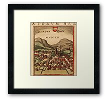 Glarus Vintage map.Geography Switzerland ,city view,building,political,Lithography,historical fashion,geo design,Cartography,Country,Science,history,urban Framed Print