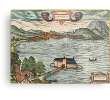 Gmunden Vintage map.Geography Austria ,city view,building,political,Lithography,historical fashion,geo design,Cartography,Country,Science,history,urban Metal Print