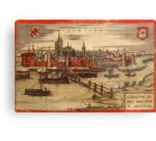 Gorinchem Vintage map.Geography Netherlands ,city view,building,political,Lithography,historical fashion,geo design,Cartography,Country,Science,history,urban Metal Print