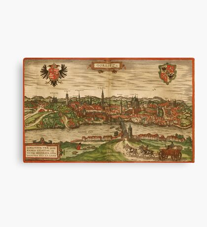 Gorlitz Vintage map.Geography Germany ,city view,building,political,Lithography,historical fashion,geo design,Cartography,Country,Science,history,urban Canvas Print